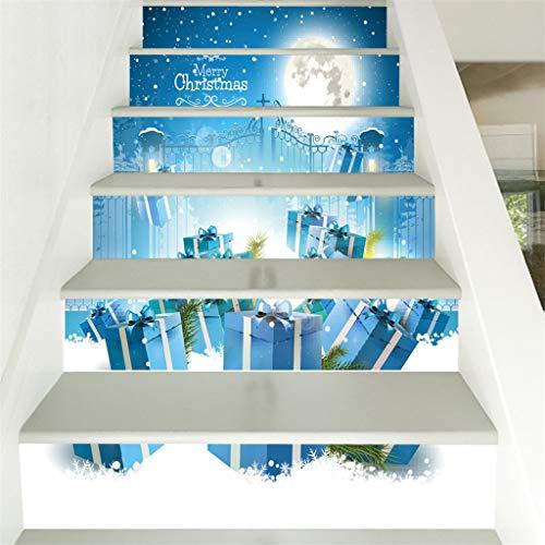 Hunpta@ 6 Stücke Exquisit Treppe Aufkleber Weihnachten Dekoration DIY Selbstklebende Wasserdichter 3D Treppenaufkleber Schritte Home Dekor, 100x18cm pro Stück