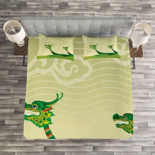 Tatsu Mythique Animaux Pistache et Vert de foug/ère Colors Qui ne sestompent Pas ABAKUHAUS Dragon Couvre-Lit 170 x 220 cm