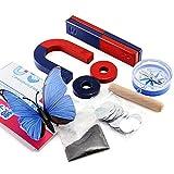 Labs - Juego de imanes para educación, ciencia, experimento, kit de herramientas para niños y estudiantes, incluye anillo de barra con imanes de herradura, brújula, juego de 9