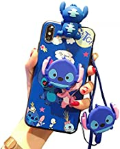 iPhone X/XS Case, Cute Blue Stitch Case, Soft 3D Silicone Cover, Cartoon Kawaii Animal Character Protective Cover for Kids Girls Compatible with Apple iPhone X/XS 5.8 Inch with Holder Lanyard Doll