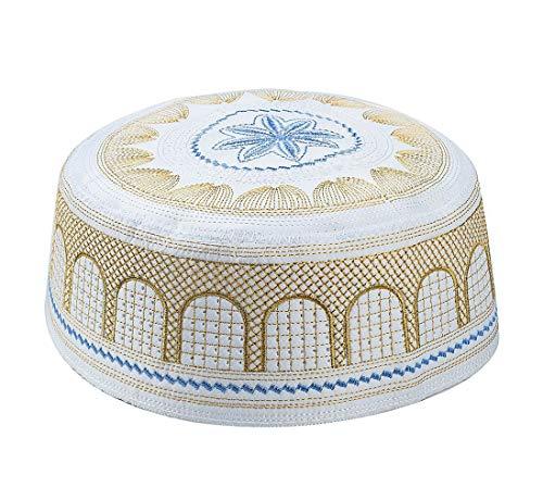 KRUIHAN Musulmán Sombrero Islam Oración Headwear - Masculino Turco Arabia Hui Ramadan Bordado Cap(Amarillo/58CM)