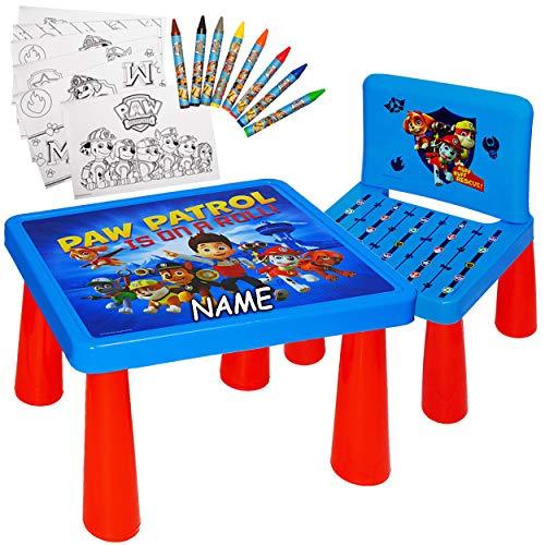 alles-meine.de GmbH Set: Tisch & Stuhl - incl. Malvorlagen + Stifte -  Paw Patrol - Hunde  - inkl. Name - Maltisch / Zeichentisch / Schreibtisch / Spieltisch - für Kinder aus K..