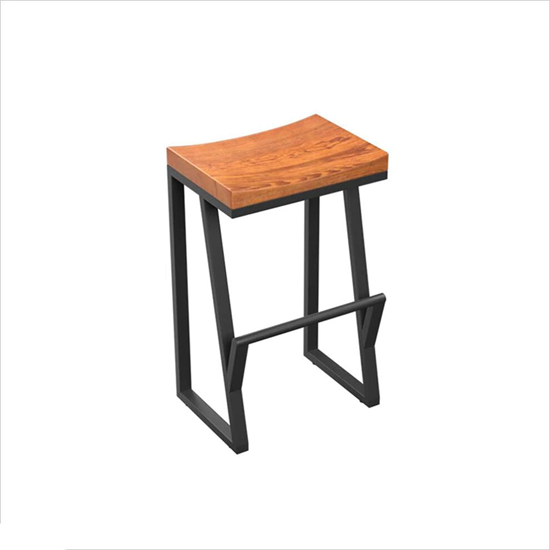 QZ HOME Y-32 Retro Bar Chair Iron Art Bar Chair Solid Wood Bar Stool High Foot Stools Leisure Chair Coffee Chair (color   1)