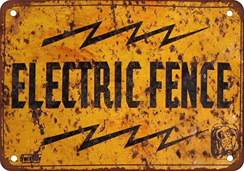 Cerca eléctrica de estaño signo vintage retro placa de hierro pintura aviso...