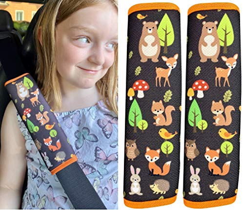 2x Auto Gurtschutz mit Waldtiere Motiv - Sicherheitsgurt Schulterpolster Schulterkissen Gurtschoner Autositze Gurtpolster für Kinder, Mädchen; Jungen - Schutz vor Gurt Einschneiden