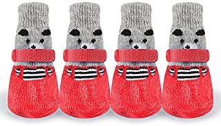 Dora Bridal Non Slip Dog Winter Shoes Socks, Warm Carton Pet Booties Anti-Slip Boots,Anti-Slip Sole Paw Protector Fabric Breathable Boot Small Medium Large Labrador Husky Shoes Set of 4