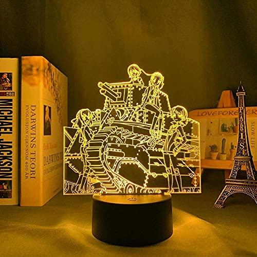 Lámpara de ilusión de luz de noche Led 3D Usb Anime Girls Und Panzer Decoración de dormitorio Cumpleaños Girls Und Panzer-Remote Control
