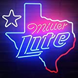 Desung New 20'x16' Miller Lite Texas Lone Star Neon Sign Man Cave Signs Sports Bar Pub Beer Neon Lights Lamp Glass Neon Light KC09