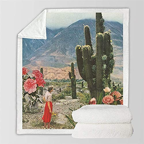 FGRSD Soft Warm Sherpa Blanket,Huge Cactus Digital Printed Quilt,Bedding Couch Blanket,Adults Office Lunch Break Blanket,Winter Sheet Plush Bedspreads Travel Warm Quilt 150×130cm