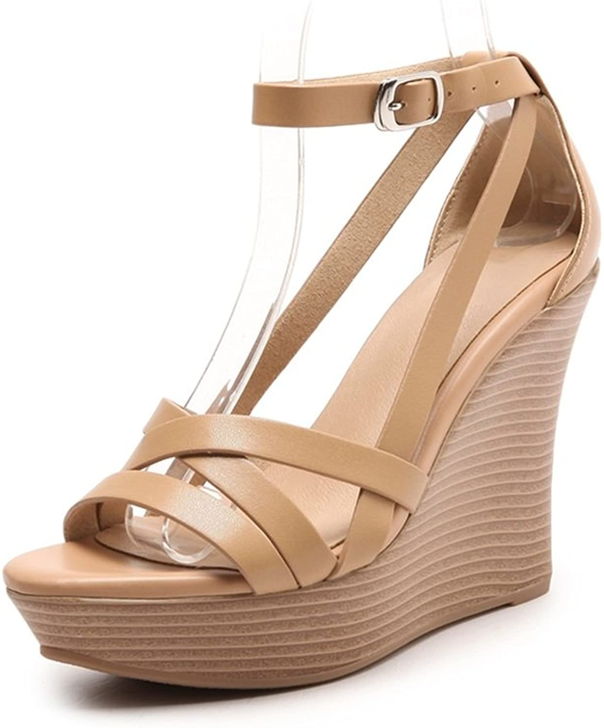 Summer New Women's sandals Slope with Thick Waterproof Platform Word Buckle sandals Ultra high-Heeled Sexy shoes 8 cm, Height 10 cm, Height 12 cm (color   8cm high, Size   34)
