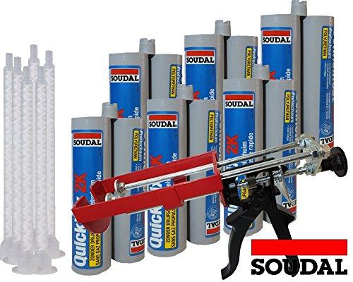 Soudal Kombiset 6x 2K-Schnellfest Zargenschaum á 210ml + 2K Pistole DM21-Metall
