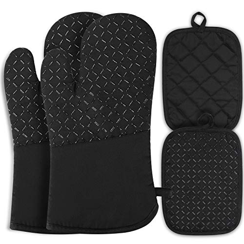 Gants de Four maniques cuisine gant four gants cuisine gant de cuisine anti chaleur gants résistant à la chaleur jusqu'à 300 ℃ gants de silicone antidérapants adaptés pour la cuisson, la caisson
