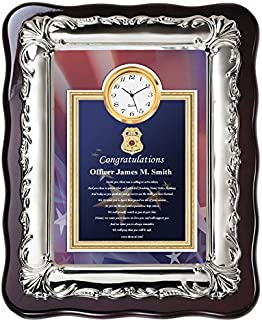 AllGiftFrames Law Enforcement Police Academy Graduation Gift Ideas for Police Officer and Sheriff Graduate - School Student Poetry Clock Plaque Chrome Silver Decor Border