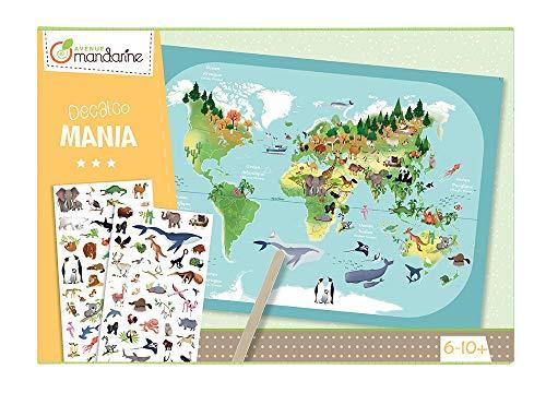 Avenue Mandarine KC042C Kreativset (Decalcomania mit 1 Weltkarte aus Karton und 2 Bogen Rubbelbilder, ideal, um die Welt mit Freude zu entdecken) 1 Pack
