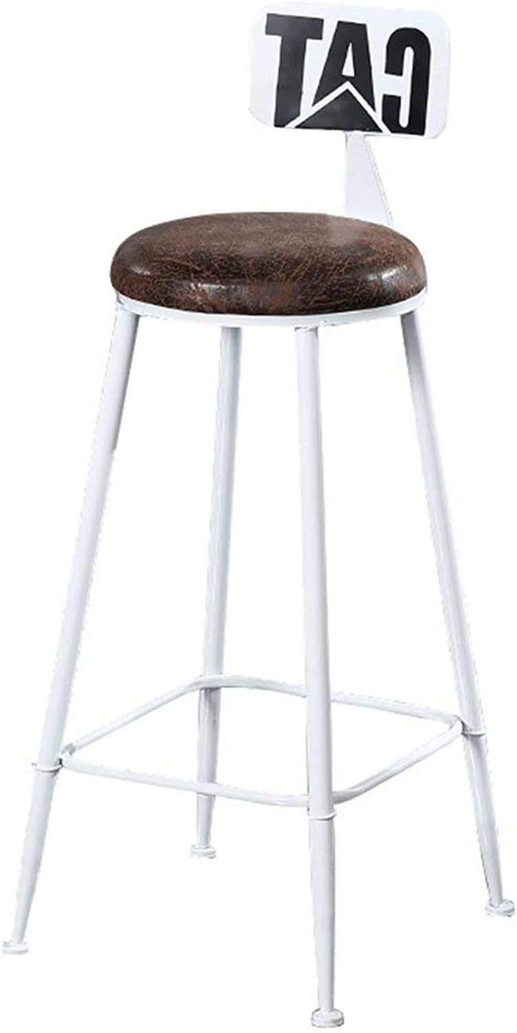 Iron Bar Stool High Stool, Retro Industrial Style, PU Cushion Family Bar Chair Design (color   White, Size   75cm)