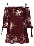 ZAFUL Women Plus Size Floral Classic Straps Cold Shoulder Regular Sleeve Blouse Shirt Top(Wine RED 2XL)