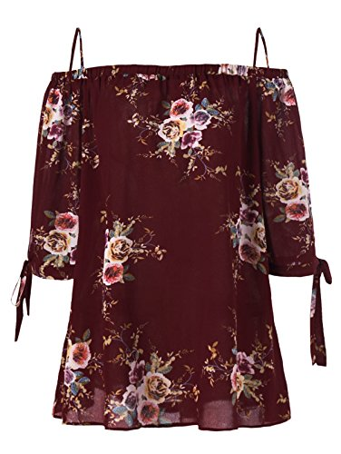 ZAFUL Women Plus Size Floral Classic Straps Cold Shoulder Regular Sleeve Blouse Shirt Top(Wine RED XL)