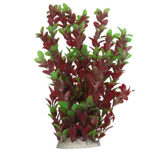 SODIAL(R) Piante d'Acqua 40 Centimetri di plastica Verdi Foglie Rosse Ornamento per Acquario