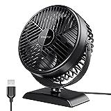 Gaiatop USB Desk Fan, Small But Powerful, Portable Quiet 3 Speeds Wind Desktop Personal Fan, Dual 360° Adjustment Mini Fan for Better Cooling, Home Office Car Outdoor (Black White)