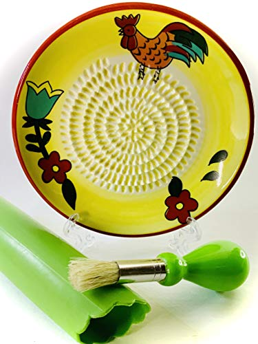 BonCera, All-in-one 4 pcs Set, Premium Ceramic Garlic Grater Set - Hand-Made, Rooster Design Grater Plate w/Garlic Peeler, Gathering Brush, Display Stand, It's also grating Turmeric, Ginger, and more,