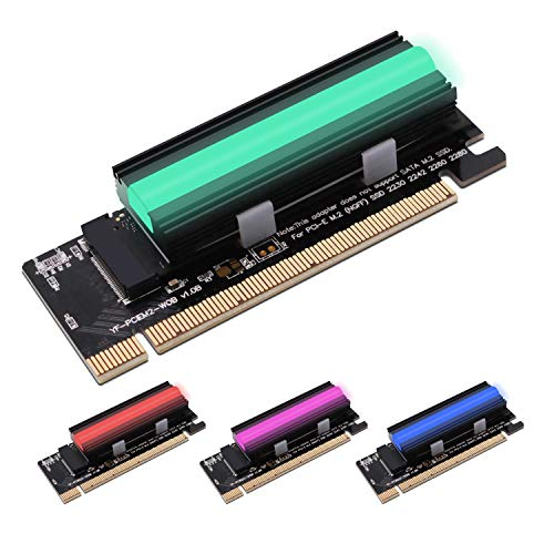 EZDIY-FAB NVME PCIe Adapter mit 12V RGB-Kühlkörper, M.2 NVME SSD to PCI-Express Adapter mit ARGB Kühlkörper,Unterstützt PCIe x4 x8 x16 Slot, Unterstützt M.2 M Key SSD 2230 2242 2260 2280