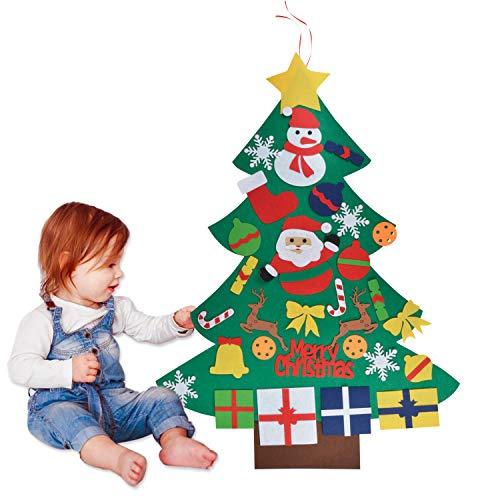 Filz Weihnachtsbaum, Outgeek DIY Weihnachtsbaum Dekoration Hängend Dekor für Kinder Weihnachts Geschenk mit 30PCS Ornament Christmas Wandbehang Deko