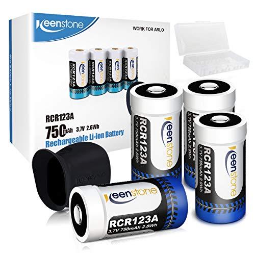 Arlo Akkus, Keenstone 4 Stücke 3,7V 700mAh Arlo Kamera Akkus mit Batterie Gehäuse/Kamera Hülle (Blue-7-4er)