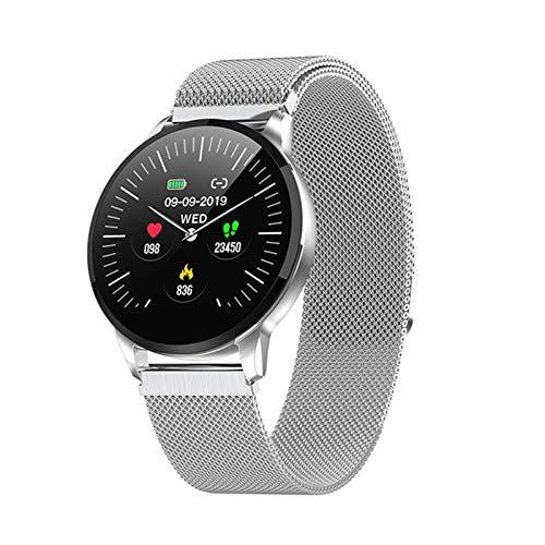 FFF8 Nuevo Fitness Smart Watch Women Runing Heart Rate Monitor Bluetooth Pedómetro Toque Inteligente Deportes SmartWatch Mujeres Hombres (Color : Silver)