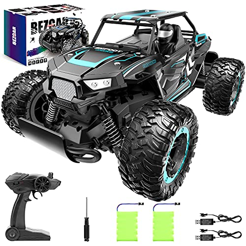 BEZGAR 18 Cyan Toy Grade 1:14 Scale Remote Control Car, 2WD High Speed 20 Km/h All Terrains Electric Toy Off Road RC Vehicle Truck Crawler with Two Rechargeable Batteries for Boys Kids and Adults