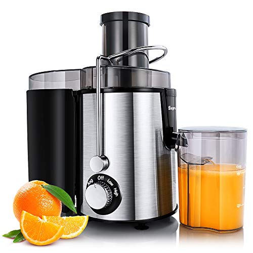 Juicer Machines Centrifugal Juice Extractor for Whole Fruit and Vegetables, BPA-Free, Dual Speed and Overheat Overload Protection, Anti-drip and Detachable Stainless Steel Citrus Juicer, Included Brush