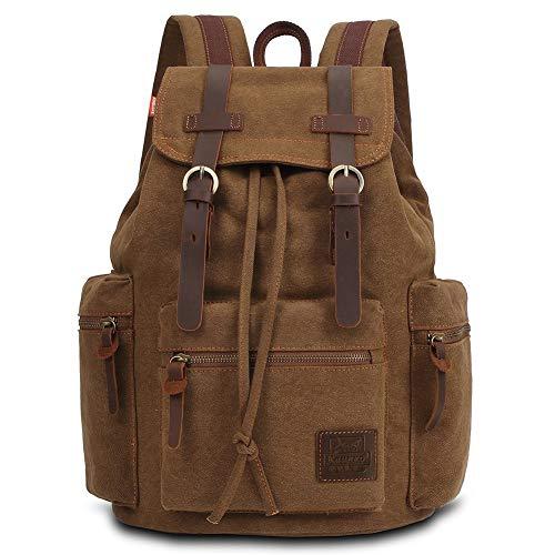 Vintage Rucksäcke 15 Zoll, KAUKKO Damen Herren Schulrucksack Daypack Retro Stylisch Backpack für Outdoor Wanderreise Camping mit Großer Kapazität 27×16×41 cm (Khaki02)