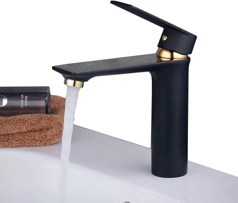 Wasserhahnbecken-Mischbatterie Moderne Einhand-Einlochmontage Schwarz Mit Gold Waschbecken Wasserhahn