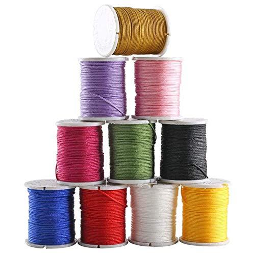 Hilo Encerado, Hilo de Nylon de Colores Cuerda Encerado para DIY Joyas Fabricación Collar Pulsera Abalorios Manualidades 0.8mm * 10m(10 Colores)