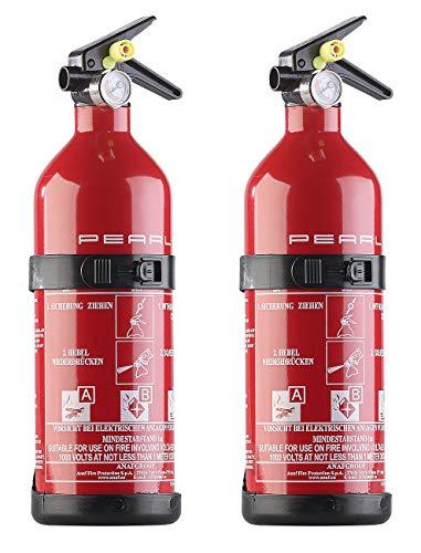 PEARL Kfz-Feuerloescher: 2er-Set kompakte ABC-Feuerlöscher für Kfz & Boot, 1 kg, 5A 34B C (Mini-Feuerlöscher Kfz)