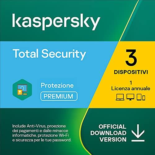 Kaspersky Total Security 2021 | 3 Dispositivi| 1 Anno | PC / Mac / Android | Codice d'attivazione via email