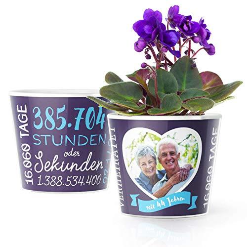 44. Hochzeitstag Geschenk – Blumentopf (ø16cm)   Geschenkidee zur Sternenhochzeit für Mann oder Frau mit Herz Bilderrahmen für 1 Foto (10x15cm)   Glücklich Verheiratet - 44 Jahre