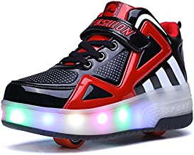 Uforme Kids Boys Girls High-Top Shoes LED Light Up Sneakers Single Wheel Double Wheel Roller Skate Shoes(12.5 M US =CN30, Black/Red-Double Wheel) …