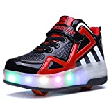 Uforme Kids Boys Girls High-Top Shoes LED Light Up Sneakers Single Wheel Double Wheel Roller Skate Shoes(1 M US =CN32, Black/Red-Double Wheel) …