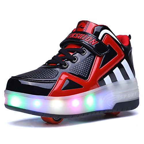 Ufatansy Uforme Kids Boys Girls High-Top Shoes LED Light Up Sneakers Single Wheel Double Wheel Roller Skate Shoes (4 M US=CN36, Black/Red-Double Wheel) …