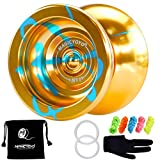MAGICYOYO N11 Golden Blue Professional Unresponsive Yoyo Alloy Aluminum YoYo Ball with Bag, Glove and 5 Strings