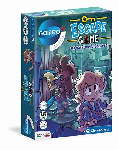 Clementoni 59225 Escape Game – Das verfluchte Schloss, spannendes Gesellschaftsspiel zum Knobeln & Rätseln, inkl. Hinweiskarten und Requisiten, Familienspiel ab 8 Jahren