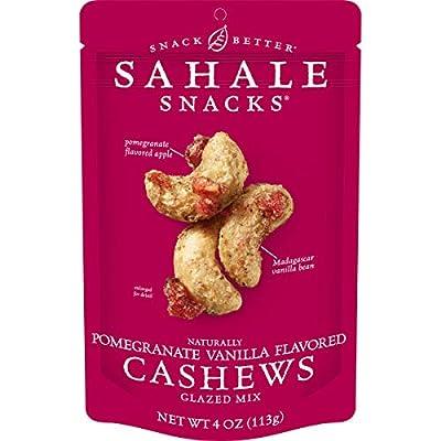 Sahale Snacks Pomegranate Vanilla Flavored Cashews Glazed Mix, 4 Ounces (Pack of 6)