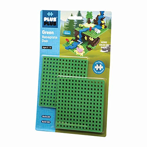 PLUS PLUS – Green Baseplate Duo – Base Accessory for Building and displaying Creations, 4.5 X 4.5 inches, Construction Building STEM | STEAM Toy for Kids
