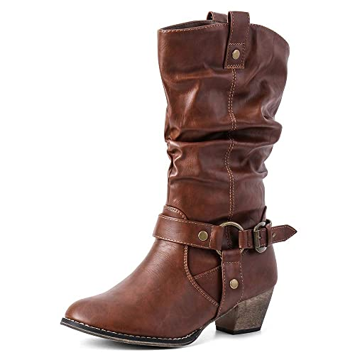 65a674cc6c4 Moda Chics Women s Wild Mid Calf Western Cowboy Boots