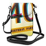 Jiger Women Small Cell Phone Purse Crossbody,Vintage Graphic Banner Party Invitation Theme Optical Striped