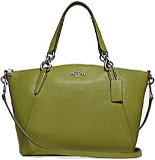 Coach Pebble Leather Mini Kelsey Satchel Crossbody Handbag (Yellow/Green)