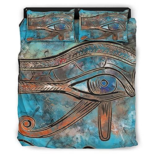 Yzanswer Eye of Ho-rus - Juego de cama hipoalergénica de lujo, sin arrugas, para dormitorio universitario, 175 x 218 cm, color blanco