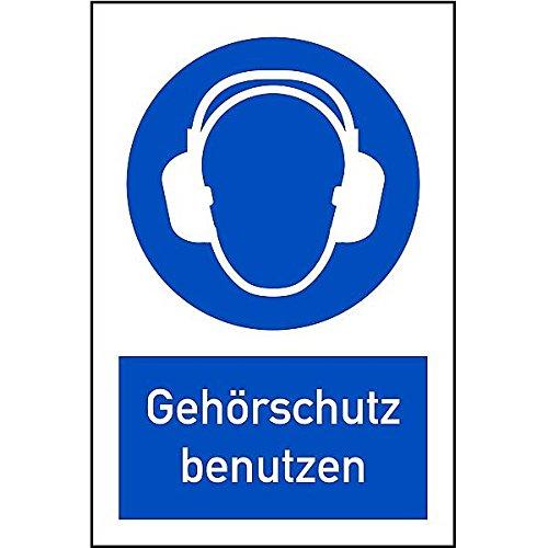 LEMAX® Schild Kombinationsschild Symbol/Text Gehörschutz benutzen, 200x300mm Alu