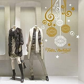 wall art NT0291-SP Bolas de Fiesta - Gafas de Navidad - 90x130 cm - Plata y Oro - Decoración de Navidad Decoraciones, Pegatinas, Pegatinas