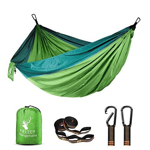 Fieleer Ultraleicht Reise Outdoor Hängematte Camping Hammock | Mit Premium Karabinern & 2,5cm Breiten Schwerlastgurten mit 6 Schlingen | 275x140cm, 300kg Traglast, Aus Fallschirm Nylon | Für Trekking